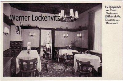 Ansichtskarte Berlin-Pichelswerder Wilhelmshöhe Hotel-Restaurant Wilhelmshöhe Terrassen am Stössensee Bes. H. Brüder und Söhne