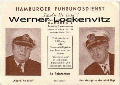 Hamburg Hafenrundfahrten Inhaber Arthur Fabian und Richard Wolff Fremdenführer Führungsdienst Käpt'n He lücht