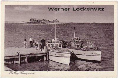 Ansichtskarte Hallig Langeness Blick vom Steg aus mit Booten Marion und Hilligenlei