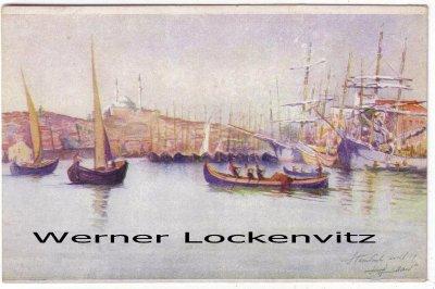 Ansichtskarte Türkei Istanbul Constantinopel Hafenansicht
