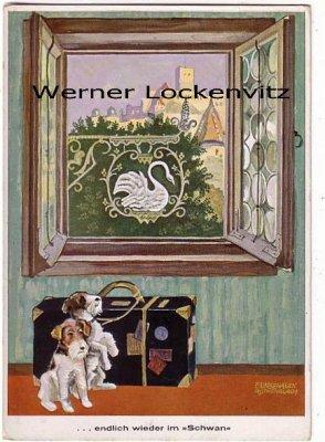 Ansichtskarte Wertheim am Main Hotel Schwan Besitzer Philipp Wießler Ww. mit Hunden