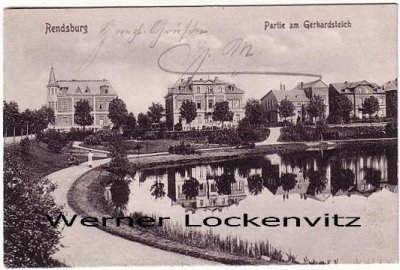 Ansichtskarte Rendsburg Gerhardsteich Häuser