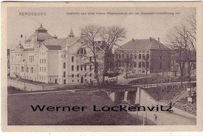 Ansichtskarte Rendsburg Stadthalle und städt. höhere Mädchenschule von der Eisenbahn-Unterführung aus gesehen