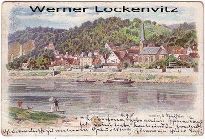 Ansichtskarte Wehlen Panorama Litho
