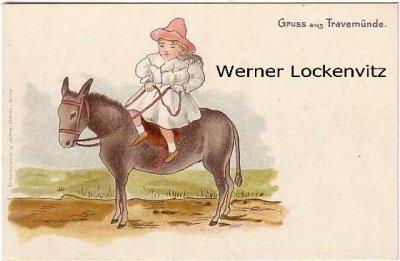 Ansichtskarte Lübeck-Travemünde Mädchen auf einem Esel