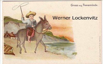 Ansichtskarte Lübeck-Travemünde Junge mit Sombrero auf Esel