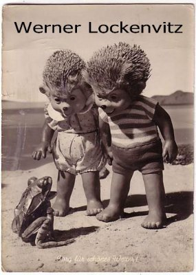 Ansichtskarte Mecki am Strand mit Frosch