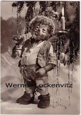 Ansichtskarte Mecki Frohe Weihnachten trinkt ein Glas Wein