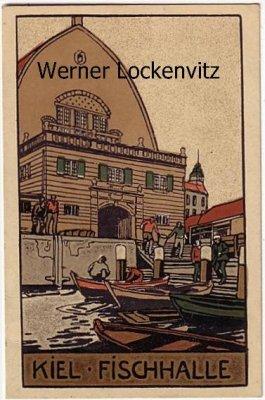 Ansichtskarte Kiel Fischhalle Künstler-Stein-Zeichnung