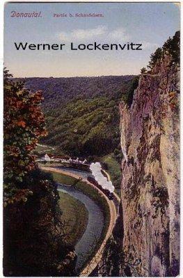 Ansichtskarte Ulm-Donautal Schaufelsen mit Zug
