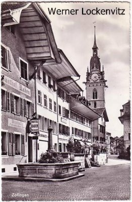 Ansichtskarte Schweiz Zofingen Zofige Zofingue Straßenansicht mit Hotel Raben Aargau Stempel: Bahnpost Ambulant
