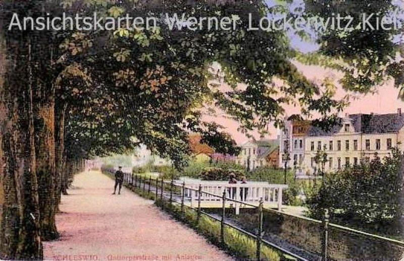 Ansichtskarte Schleswig Gottorperstraße mit Anlagen