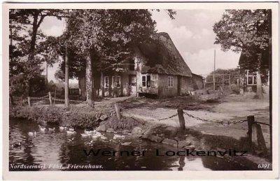Ansichtskarte Nordseeinsel Föhr Friesenhaus mit Teich