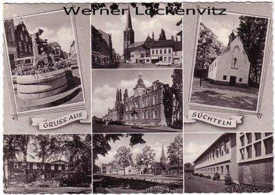 Ansichtskarte Viersen-Süchteln mehrfach Markt mit Kirche Brunnen Schule