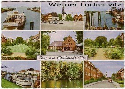 Ansichtskarte Glückstadt Elbe mehrfach Fähre ferry Markt Schiffe