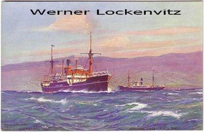 Ansichtskarte Dampfer Henry und Claus Horn Reederei Horn Flensburg Gemälde von Rolf Schmidt-Hamburg