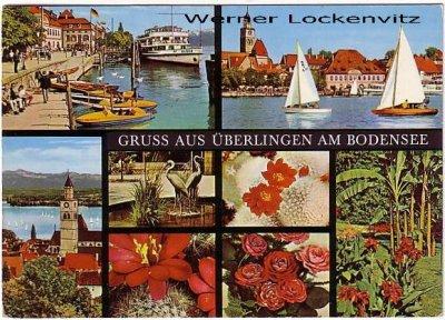 Ansichtskarte Überlingen am Bodensee Blumen Panorama
