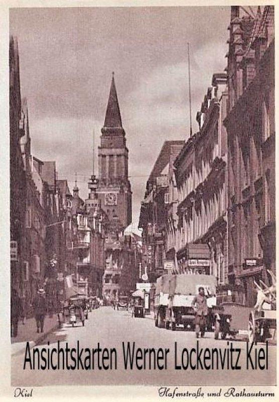 Ansichtskarte Kiel Hafenstraße und Rathausturm