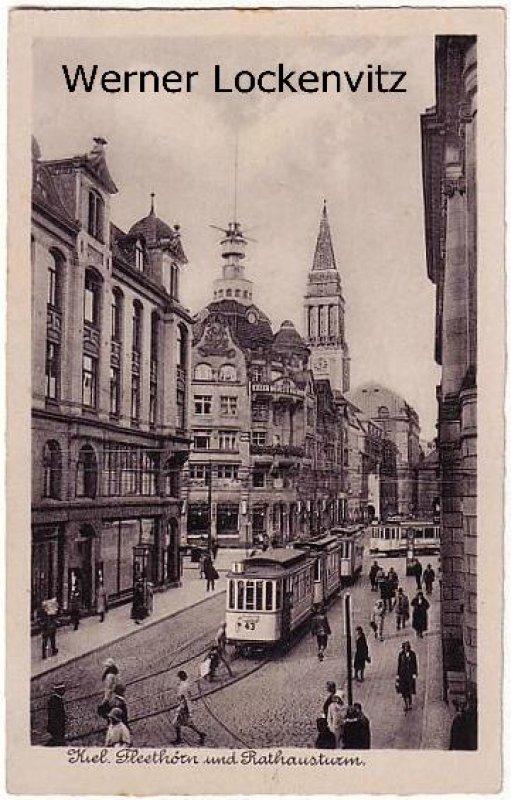Ansichtskarte Kiel Fleethörn und Rathausturm mit Straßenbahnen und Gebäude der Kieler Nachrichten