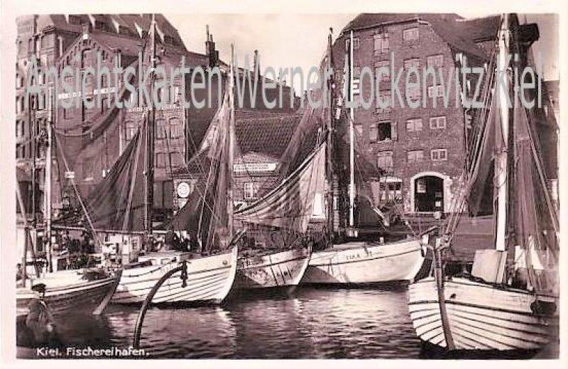Ansichtskarte Kiel Fischereihafen mit Speicher von J.C. Kipp und Deutsch-Amerikanische Petroleum-Gesellschaft