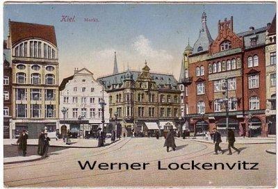 Postcard Germany Kiel market place with sea mail postmark