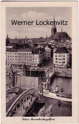 Ansichtskarte Polen Pommern Stettin Szczecin Hansabrücke geöffnet