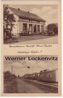 Ansichtskarte Stadland Seefeld RAD Arbeitslager Seefeld i. O.  Gemischtwaren-Geschäft von Werner Bartels