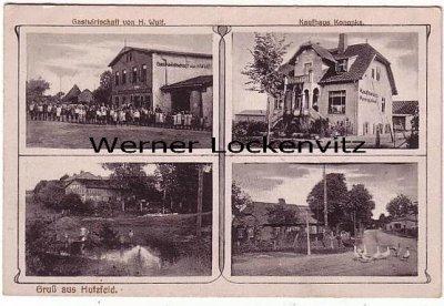 Ansichtskarte Hutzfeld Gastwirtschaft Kaufhaus Kanopka Dorfteich