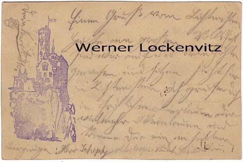 Ansichtskarte Schloss Lichtenstein bei Reutlingen Vorläufer 1884