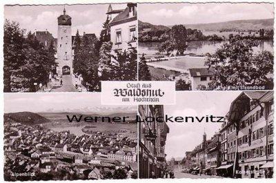Ansichtskarte Waldshut-Tiengen am Hochrhein Obertor Rhein mit Strandbad Alpenblick Kaiserstraße