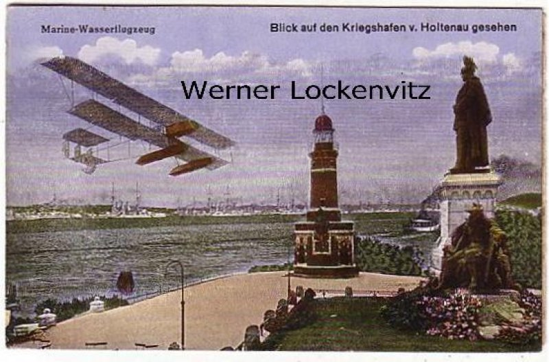 Ansichtskarte Kiel-Holtenau Blick auf den Kriegshafen mit Leuchtturm und Marine-Wasserflugzeug