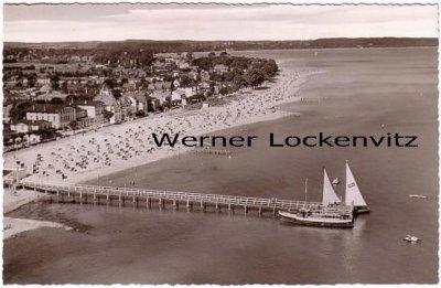 Ansichtskarte Niendorf Ostseeheilbad Panorama Luftbild Blick vom Strand aus auf den Ort
