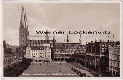 Ansichtskarte Lübeck Marienkirche und Marktplatz