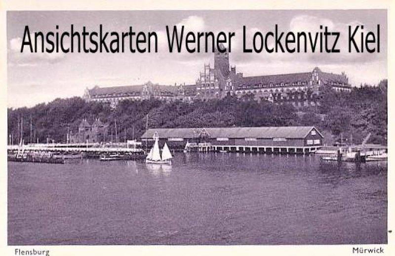 Ansichtskarte Flensburg-Mürwik Kaserne mit Bootshafen Feldpost Kommando Marineschule Mürwick