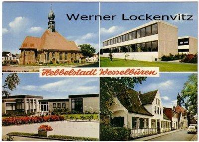 Ansichtskarte Wesselburen Kirche Schule Straße