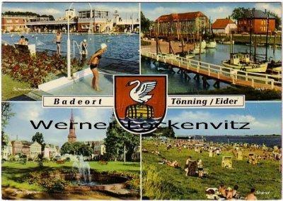 Ansichtskarte Tönning an der Eider mehrfach Freibad Hafen Kirche
