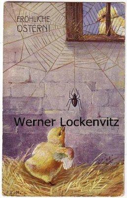 Ansichtskarte Fröhliche Ostern Küken mit Spinne