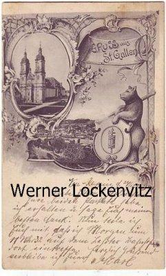 Ansichtskarte Schweiz St. Gallen Gruß aus St. Gallen Kirche Panorama Bär