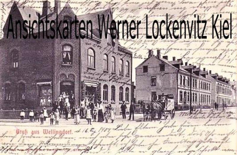 Ansichtskarte Kiel-Wellingdorf Straßenansicht mit Geschäft von Schütt wohl Fischersiedlung