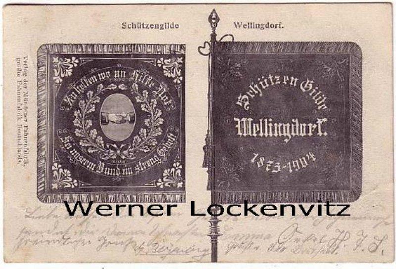 Ansichtskarte Kiel-Wellingdorf Fahne der Schützengilde