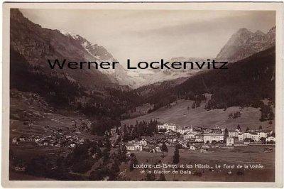 Ansichtskarte Schweiz Leukerbad Loueche-Les-Bains Loeche-Les-Bains et les Hotels Le Fond de la Ville Wallis
