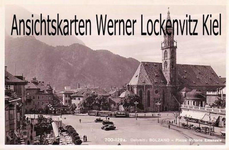 Ansichtskarte Cartolina Italia Bolzano Bozen Piazza Vittorio Emanuele mit Straßenbahn