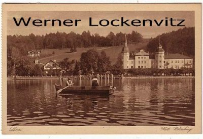 Ansichtskarte Leoni Photo Wörsching Panorama mit Ruderboot