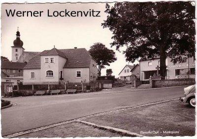 Ansichtskarte Ebnath Oberpfalz Marktplatz mit Gasthof und Kirche
