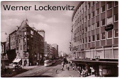 Ansichtskarte Karlsruhe Kaiserstraße Ecke Waldstraße mit Straßenbahn