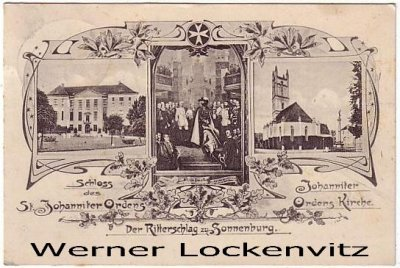 Ansichtskarte Polen Sonnenburg Słońsk bei Küstrin mehrfach St. Johanniter Orden Johanniter Ordenskirche Der Ritterschlag zu Sonnenburg