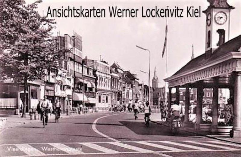 Ansichtskarte Niederlande Vlaardingen Westhavenplaats mit Radfahrern