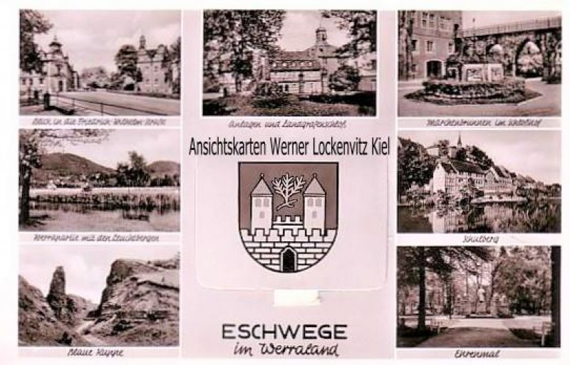 Ansichtskarte Eschwege Leporello Blick auf die Friedrich-Wilhelm-Straße Schulberg Ehrenmal