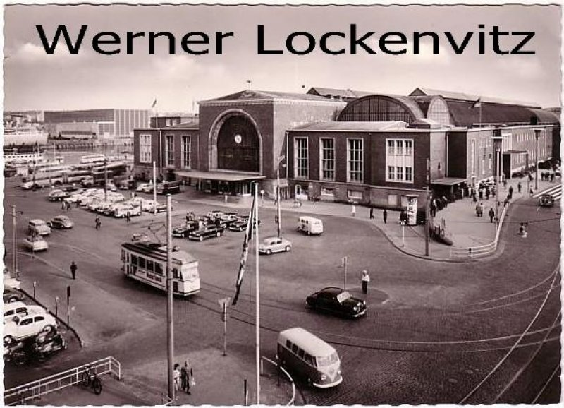 Ansichtskarte Kiel Hauptbahnhof mit Straßenbahn