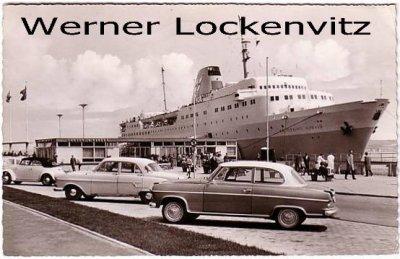 Ansichtskarte Kiel Oslo-Kai mit Borgward und Kronprins Harald Schiffe